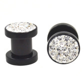 "Sparkling Clear Crystal Black Acrylic Screw Plugs (8g-1/2"")"