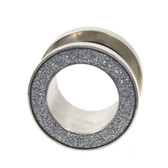 "Grey Glitter Rim Steel Screw Fit Tunnel Plugs (0g-13/16"")"