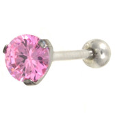 Prong Set 7mm Pink CZ Tongue Ring Barbell 14g 5/8""