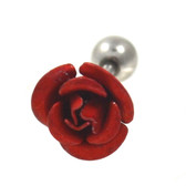 Red Metal Rose Cartilage Tragus Stud 16g 1/4""