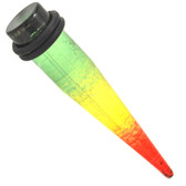 "See Through Rasta Colored Acrylic Tapers (8g-1/2"")"