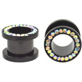 "Black Titanium AB Gem Rim Tunnels Plugs (4g-1/2"")"
