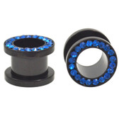 "Black Titanium Blue Gems Rim Tunnel Plugs (4g-1/2"")"