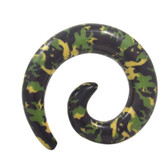Camo Print Army Green Acrylic Spiral Tapers (8g-00g)