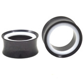 "Black and White Acrylic Combo Tunnel Plugs (2g-1"")"
