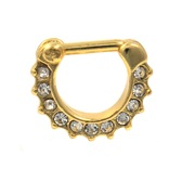 Gold Plated Septum Clicker w/Clear CZ's 14G 3/8""