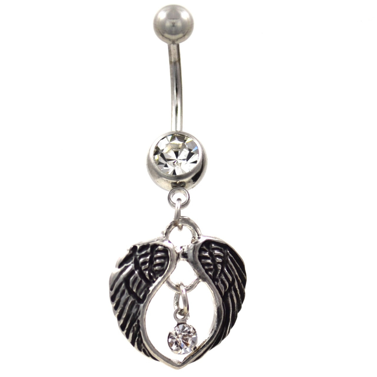 Angel Wings Gem Drop Center Belly Button Ring Bodydazz Com