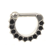 11 Black Gems Steel Septum Clicker (16G/14G)