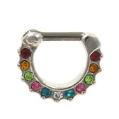 11 Rainbow Gems Steel Septum Clicker (16G/14G)
