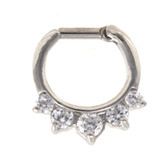 Fancy 5-Gem Clear Septum Clicker (16G/14G)