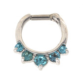 Fancy 5-Gem Aqua Septum Clicker (16G/14G)