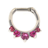 Fancy 5-Gem Pink Septum Clicker (16G/14G)