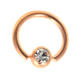 Rose Gold Plated Gem Ball CBR 14 Gauge (2 Sizes)