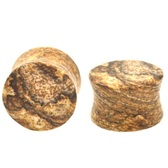 "Landscape Brown Jasper Stone Ear Plugs (6g-1"")"
