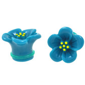 "Single Flared Teal Hibiscus Flower Ear Plugs (6g-5/8"")"
