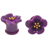 "Purple Hibiscus Flower Single Flared Plugs (6g-5/8"")"