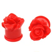 "Wild Red Rose Single Flared Ear Plugs (6g-1"")"