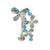 Aqua Gem Butterfly Trail Top Down Belly Ring
