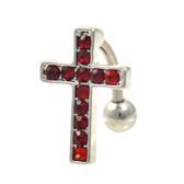 Top Down Gem Paved Red Cross Belly Ring