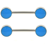 PAIR - Aqua Enamel Disc End Nipple Bars 14g 9/16""