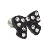 Black Bow Clear Gems Cartilage Bar Jewelry 16g