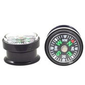 "Working Compass Black Acrylic Screw Plugs (0g-1"")"