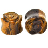 Tiger Eye Stone Carved Rose Ear Plugs (2g-13/16)