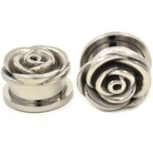 Carved Metal Rose Screw Fit Tunnel Plugs (0g-13/16)
