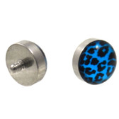 Blue and Black Leopard Print Dermal Top 14G