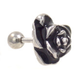 Black and Silver Rose Cartilage Tragus Bar 16g 1/4""