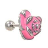 Pink and Silver Rose Cartilage Tragus Bar 16g 1/4""