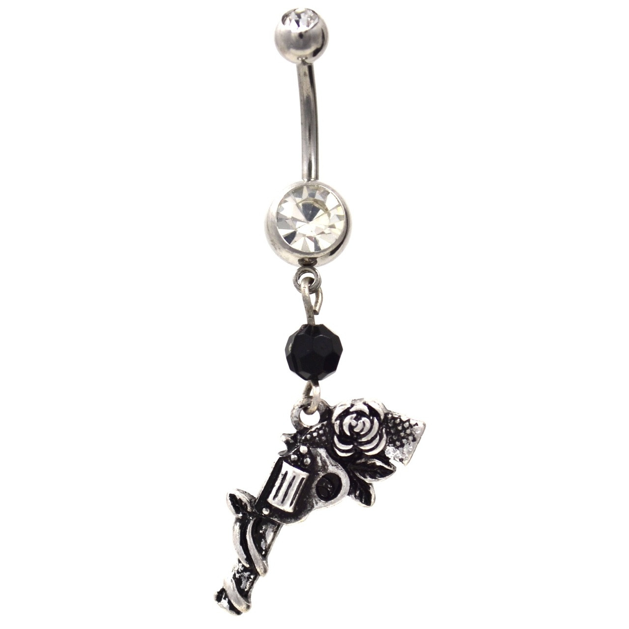Rose Wrapped Gun Dangle Belly Button Ring
