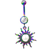 Rainbow Plated Tribal Sun w/Clear Gems Belly Ring