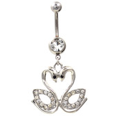 Lovebird Swans Belly Button Ring w/Clear Gems