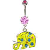 Pretty Yellow Elephant Pink Gems Belly Ring