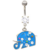 Pretty Blue Elephant Clear Gems Belly Ring