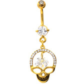 Gold Plated Grinning Skull Clear Gemmed Belly Ring
