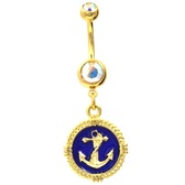 Gold Plated Blue Anchor Charm Dangle Belly Ring