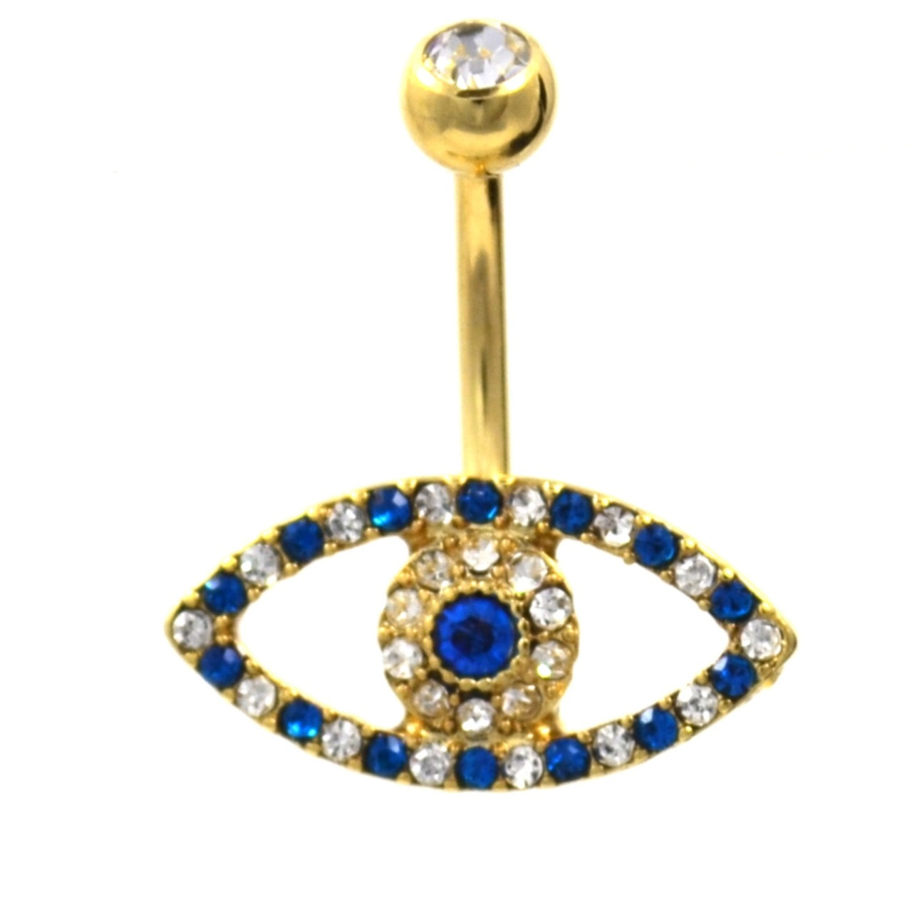Blue Clear Gem Paved Evil Eye Belly Ring
