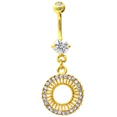 Gold Plated Clear Gem Explosion Belly Button Ring