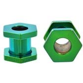 Green Titanium Hexagon Screw Tunnels (10g-00g)