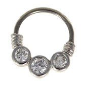 Triple Clear Gem Steel Septum Clicker (16G/14G)