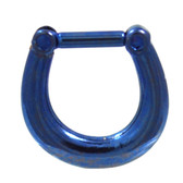 Blue Titanium Plated Septum Clicker (16G/14G)