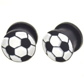 "Soccer Ball Silicone Double Flared Ear Plugs (2g-5/8"")"