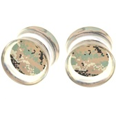 "Green Digital Camouflage Clear Acrylic Plugs (2g-1"")"