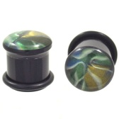 "Unique Abalone Dome Single Flared Plugs (2g-5/8"")"