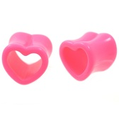 "Pink Acrylic Heart Shaped Tunnel Plugs (0g-5/8"")"