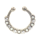 Clear CZ White Opal Mix Fake Septum Ring Jewelry