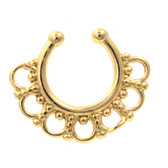 Ornate Design Gold Plated Fake Septum Ring Jewelry