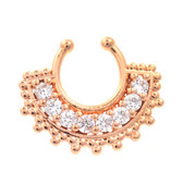 Intricate Gemmed Rose Gold Fake Septum Ring Jewelry